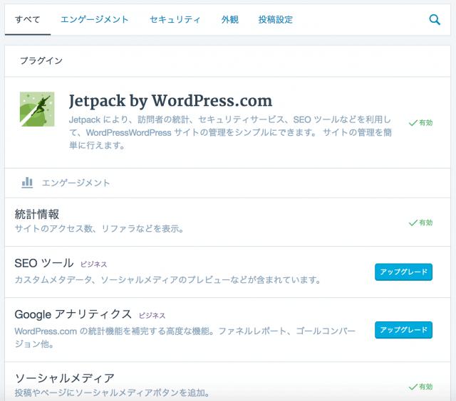 WordPress.comのプラグインJetpack
