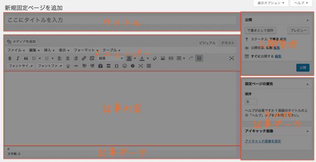 WordPress使い方 新規追加(固定ページ)