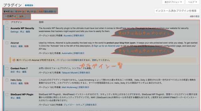WordPress使い方 インストール済みプラグイン