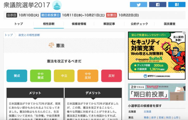 2017年 衆議院選挙:Yahoo!Japan みんなの政治 政党との相性診断