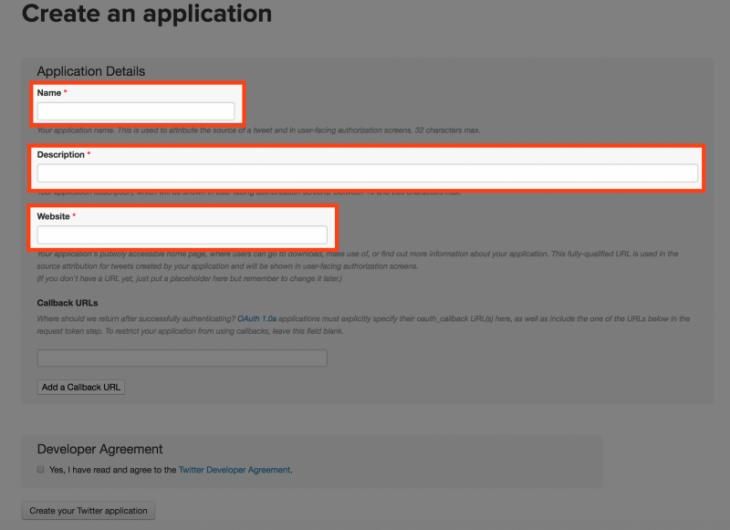 Twitterbot作り方:Name、Description、Websiteを決める