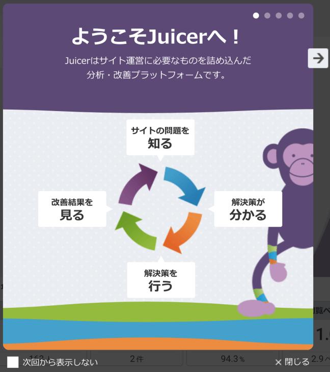 アクセス解析がカンタンなjuicer:改善のステップ図
