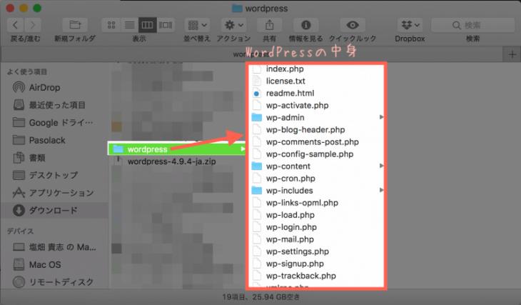 WordPressインストール:WordPressのZIPファイルを展開