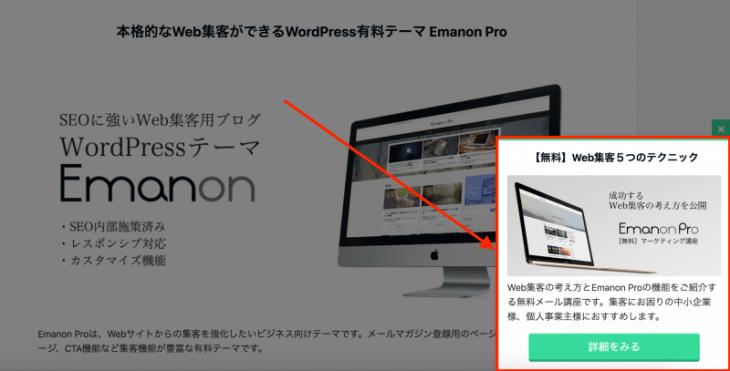 Emanon WordPress テーマ:ポップアップを表示するとこんな感じ。