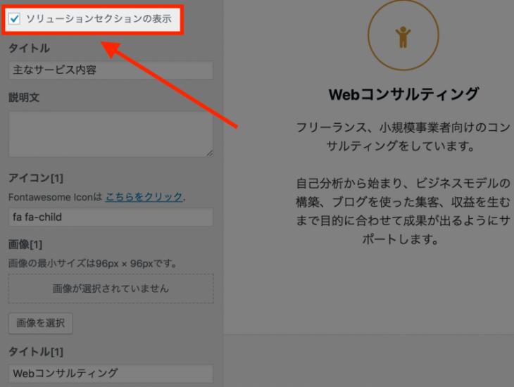Emanon WordPress テーマ:セレクションごとに表示・非表示ができる