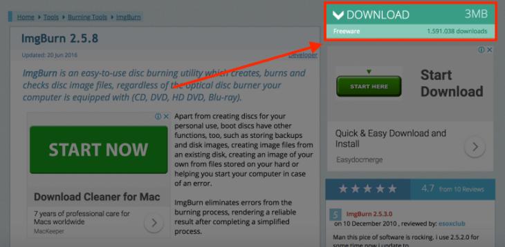 imgBurn ダウンロード:DOWNLOADボタンを押す