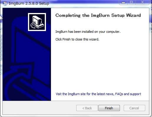 imgBurn ダウンロード:インストール完了
