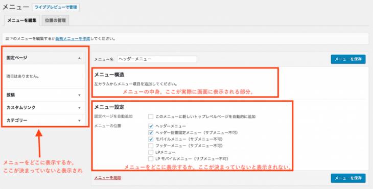 WordPressナビゲーションメニュー:メニュー構造、メニュー設定、コンテンツ