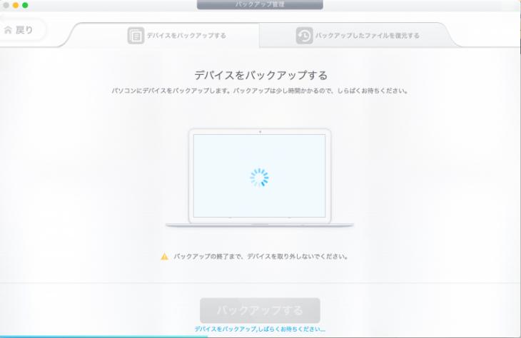 iPhoneバックアップ DearMob iPhoneマネージャー:デバイスをバックアップ中