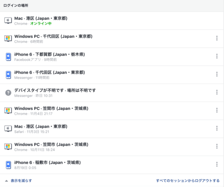 Facebook不正ログイン:セッションの一覧が表示されます。