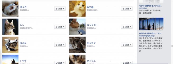 Facebook エッジランクの確認:友達欄を全部猫にしました。