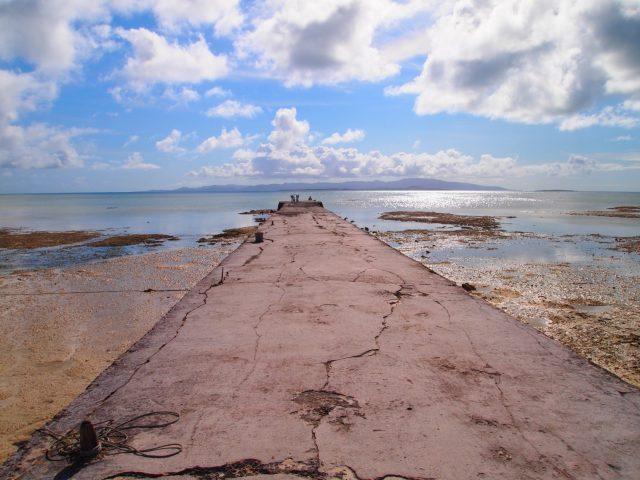 潮が引いた西桟橋