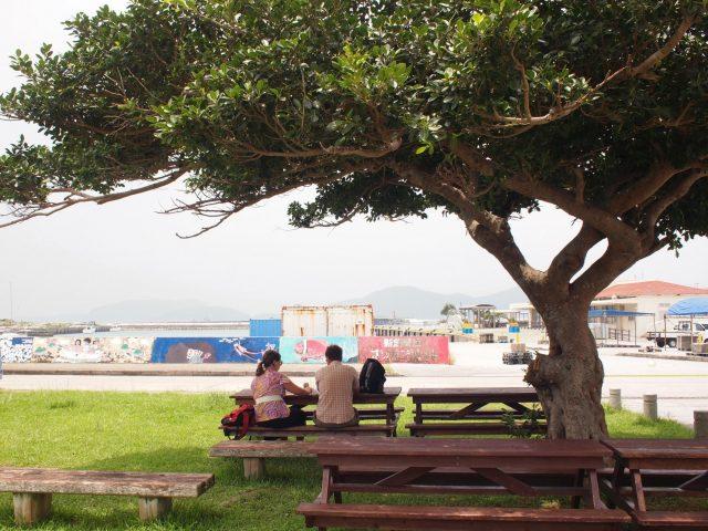 座間味島のベンチ